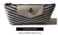 Nautical Fabric Pencil Case - Medium - Light Blue