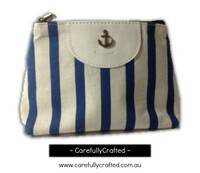 Nautical Fabric Pencil Case - Large - Light Blue