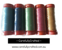 Calico Days - Aurifil Thread - Set of 5 Aurifil 50 weight thread spools (200 metres each)