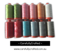 Little Ruby - Aurifil Thread - Set of 12 Aurifil 50 weight thread spools (1300 metres each)