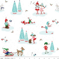 Riley Blake Fabric - Pixie Noel - Tasha Noel - White #5250