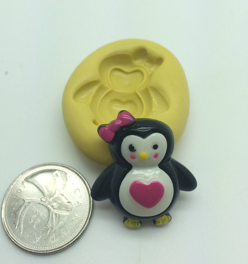 Penguin With Heart Silicone Mold