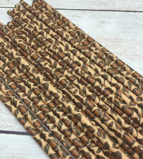 25pc Cheetah Animal Print  Paper Straws