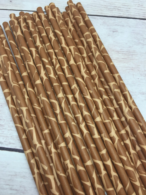 25pc Giraffe  Animal Print  Paper Straws