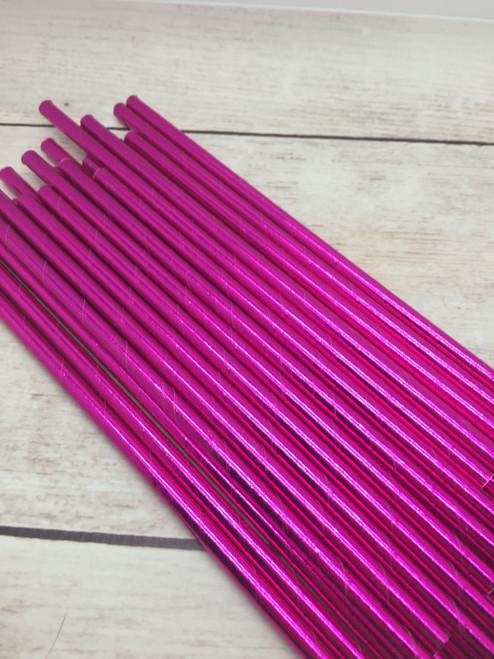 25pc Pink Foil  Straws