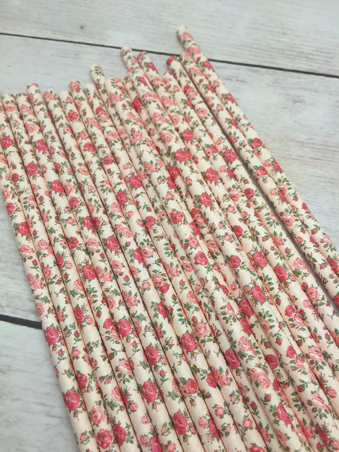 Rose  Flower Straws  25pc