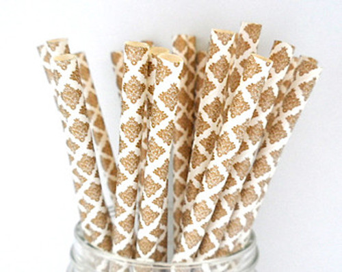 25pc Gold and White Demask   Straws