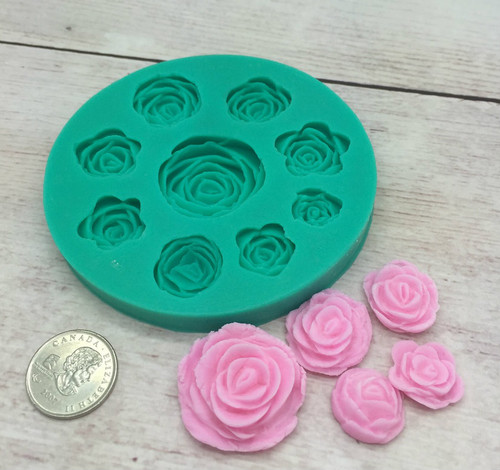 Flower Rose  9pc Silicone Mold Set
