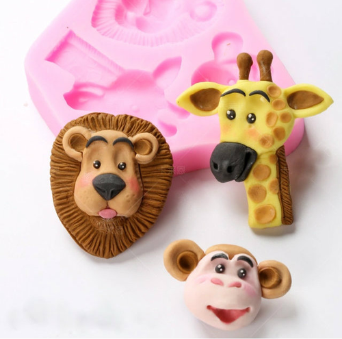 Animal Lion , Giraffe and Monkey  3 cavity Silicone Mold