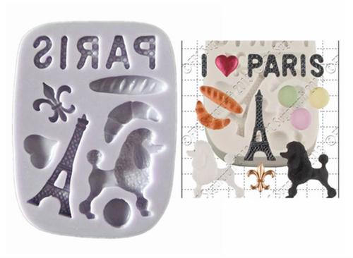 Paris Theme Eiffel tower Poodle silicone Mold Set