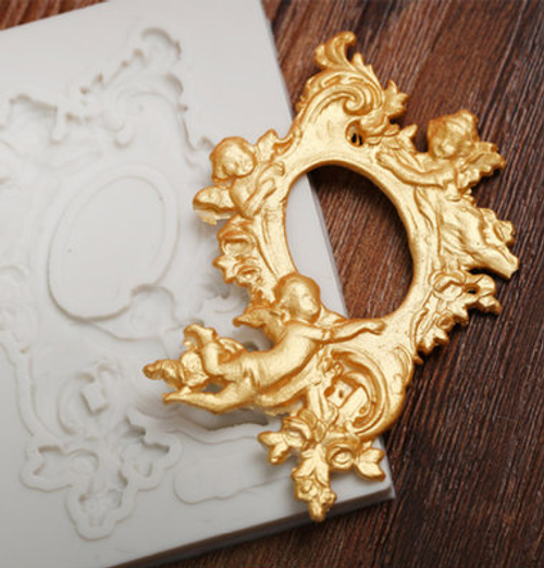 Frame with Angel  Decorative  Small Silicone Mold