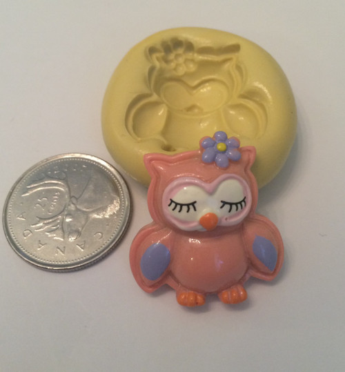Owl with flower Silicone Mold
