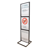 "Three-Tier Poster Stand Display - Black - 22""w x 28""h 1/Pack"