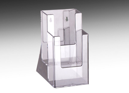 """Two tier brochure holder for displaying 4"""" x 9"""" brochures  on tabletops at retail stores and offices."""