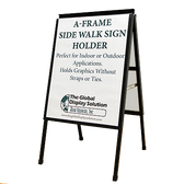 "A-Frame Double-sided Sidewalk Poster Sign - Steel With Black Finish- Fits 22"" x 28"" Signs"