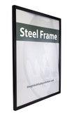 Hang posters and signs on walls using attractive metal sign frame with black finish.
