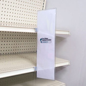Blade sign protector displays large signs along retail store shelves coolers and many other surfaces.  Combine with sign grippers for a complete sign display.