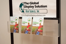 Acrylic brochure holder attaches to  standard poster stands to and displays 5 x 7 literature