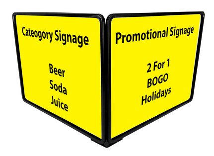Black Metal sign holder displays (2) 14 x  11 signs and features Magnetic base