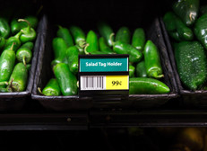 Salad tag holder - display signs on produce bins.