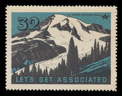 Associated Oil Company Poster Stamps of 1938-9 - # 32, Mt. Rainier National Park