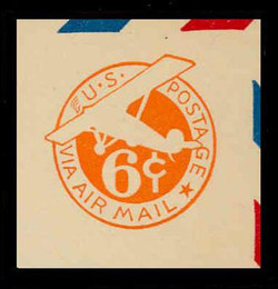 U.S. Scott # UC  3 1934 6c Plane, Orange Background, Die 2a, Border b(2) - Mint Cut Square (See Warranty)