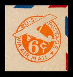 U.S. Scott # UC  6 1942 6c Plane, Orange Background, Die 3, Border b(2) - Mint Cut Square (See Warranty)