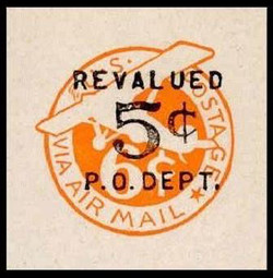 U.S. Scott # UC 10 1946 5c on 6c (UC3N) Plane, Orange Background, Die 2a, NO Border - Mint Cut Square