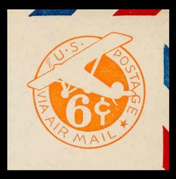 U.S. Scott # UC  4 1942 6c Plane, Orange Background, Die 2b, Border b(2) - Mint Cut Square (See Warranty)