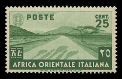 ITALIAN EAST AFRICA Scott #  7, 1938 25c green Desert Road
