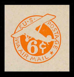 U.S. Scott # UC  4N 1942 6c Plane, Orange Background, Die 2b, NO Border - Mint Cut Square
