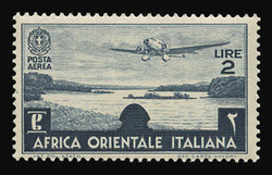 ITALIAN EAST AFRICA Scott # C 7, 1938 2.00 lire slate blue Airplane/Lake Tsana