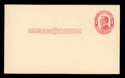 U.S. Scott # UX  24, 1910 1c William McKinley, NO Background Lines, red on cream - Mint Postal Card