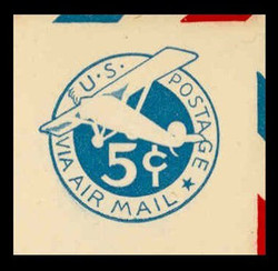 U.S. Scott # UC  2 1929 5c Plane, Blue Background, Die 2, Border b(2) - Mint Cut Square (See Warranty)