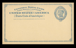U.S. Scott # UX   6, 1879 2c Liberty Head, blue on buff with border & Small Margin - Mint Postal Card