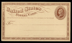 U.S. Scott # UX   1, 1873 1c Liberty Head, brown on buff with Large Watermark - Mint Postal Card