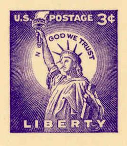 "U.S. Scott # UX  46a/UPSS #S63a, 1958 3c Statue of Liberty, Missing ""I"" in IN GOD WE TRUST Error - Mint Postal Card"