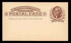 U.S. Scott # UX   8, 1885 1c Thomas Jefferson, brown on buff - Mint Postal Card