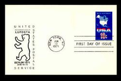 U.S. Scott # UX  59LUP, 1971 10c Map, LUPOSTA '71 Overprint - FDC Only, No Mint - Show Logo Postal Card