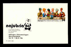 U.S. Scott # UX 110NAJ, 1986 14c Stamp Collecting, NAJUBRIA '86 Overprint - Mint Show Logo Postal Card, DULL PAPER