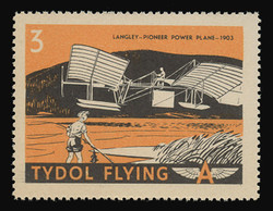 "Tydol Flying ""A"" Poster Stamps of 1940 - # 3 Langley - Pioneer Power Plane - 1903"