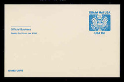 U.S. Scott # UZ 02, 1983 13c Official Mail, white on blue - Mint Postal Card
