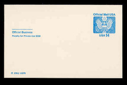 U.S. Scott # UZ 03, 1985 14c Official Mail, white on blue - Mint Postal Card