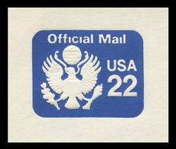 U.S. Scott # UO 074 1985 22c Official Mail, white background - Mint Cut Square