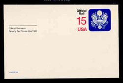 U.S. Scott # UZ 04, 1988 15c Official Mail, white on blue, value in red - Mint Postal Card