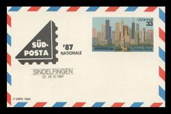 U.S. Scott # UXC 23SUDSHIFT, 1986 33c AMERIPEX '86, SUDPOSTA '87 Overprint - Mint.  Scarce Error.  Overprint shifted up 10-15mm. - Mint Show Logo Postal Card