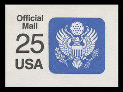 U.S. Scott # UO 078a 1988 25c Official Mail, detailed background, thin lines - Mint Cut Square