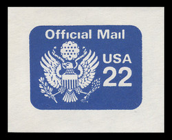 U.S. Scott # UO 075 1987 22c Official Mail, detailed background - Mint Cut Square