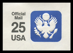 U.S. Scott # UO 077a 1988 25c Official Mail, white background, thick lines - Mint Cut Square