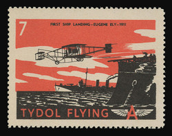 "Tydol Flying ""A"" Poster Stamps of 1940 - # 7, First Ship Landing, Eugene Ely - 1911"